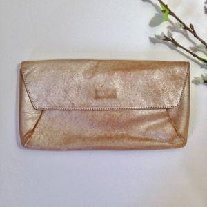 ANN TAYLOR Shimmering Metallic Tan LEATHER Clutch